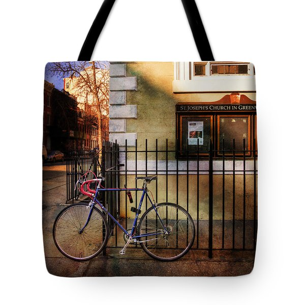 St. Joseph's Church Bicycle Tote Bag by Craig J Satterlee