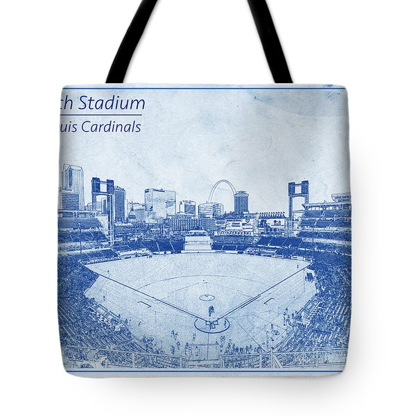 Tote Bag featuring the photograph St. Louis Cardinals Busch Stadium Blueprint Words by David Haskett