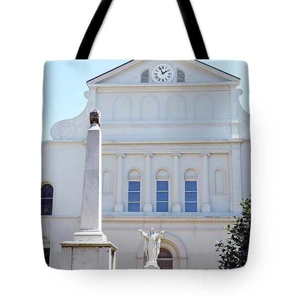 St. Louis Cathedral Back Lawn Tote Bag