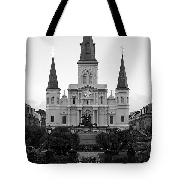 St Louis Cathedral On Jackson Square In The French Quarter New Orleans Black And White Tote Bag