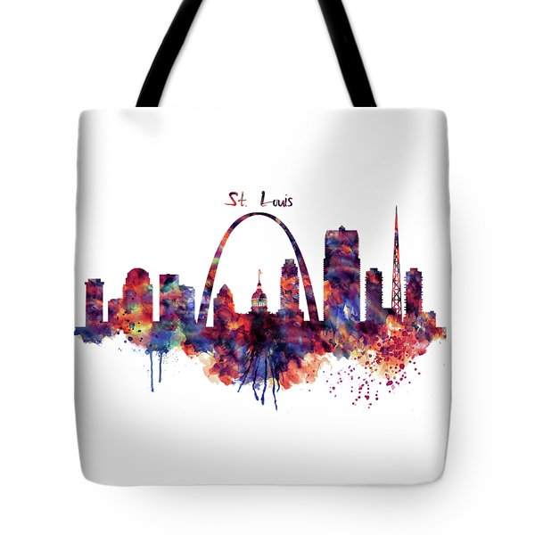 Tote Bag featuring the digital art St Louis Skyline by Marian Voicu