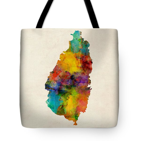 St Lucia Watercolor Map Tote Bag by Michael Tompsett