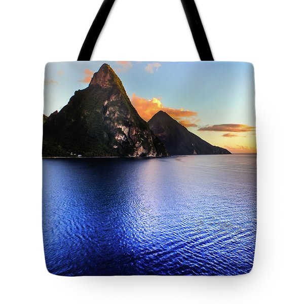 St. Lucia's Cobalt Blues Tote Bag by Karen Wiles