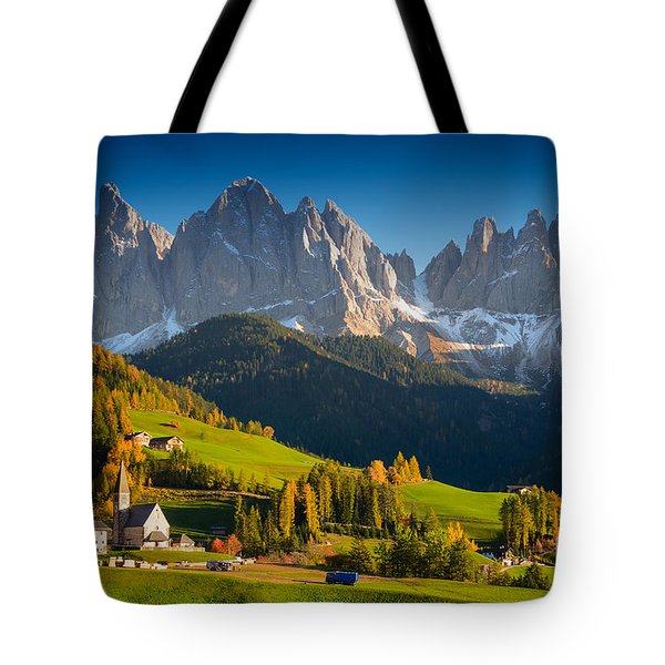 St. Magdalena Alpine Village In Autumn Tote Bag