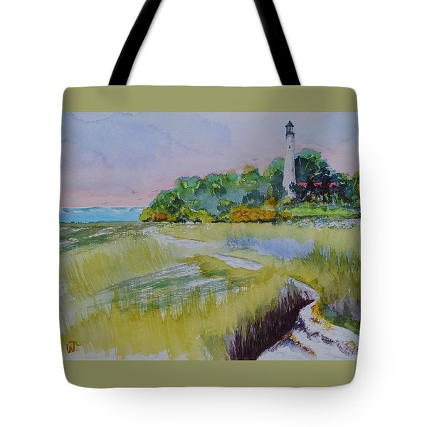 St. Marks Lighthouse Beachfront Tote Bag