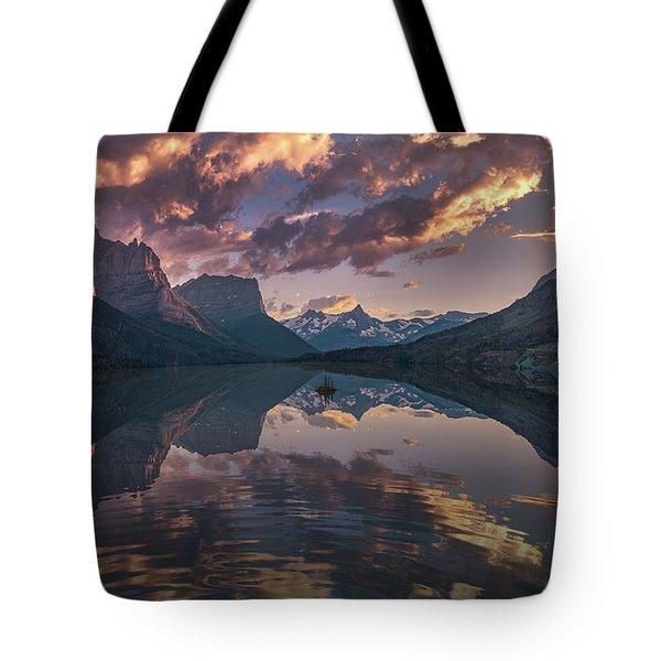 St Mary Lake At Dusk Panorama Tote Bag
