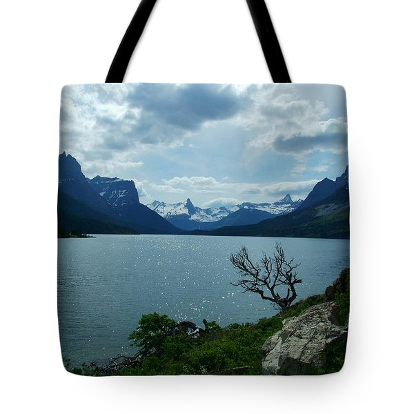 St Mary Lake, Incoming Storm Tote Bag