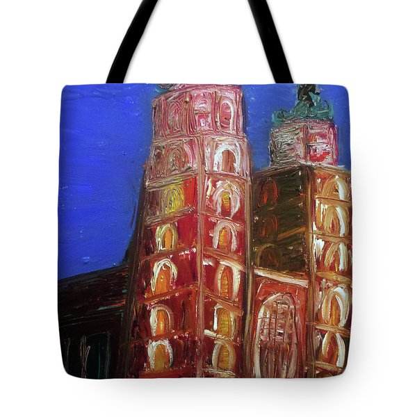 Tote Bag featuring the painting St. Mary's Church Kosciol Marjacki by Ania M Milo
