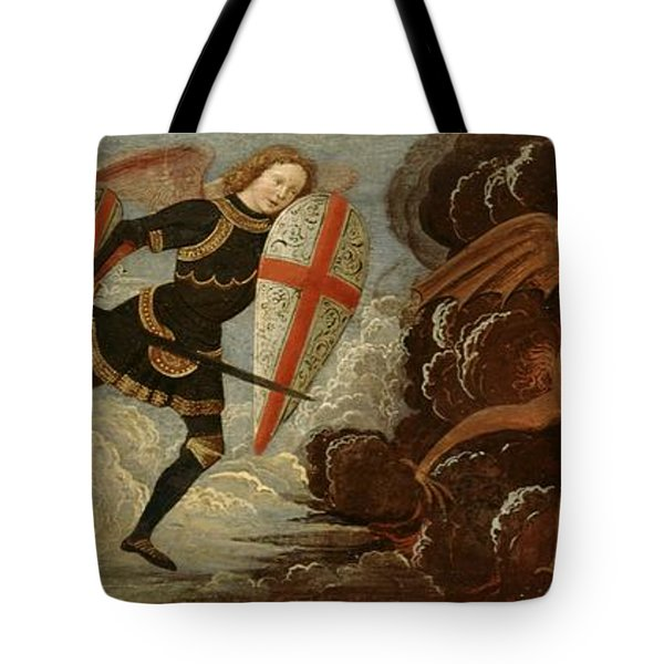 St. Michael And The Angels At War With The Devil Tote Bag