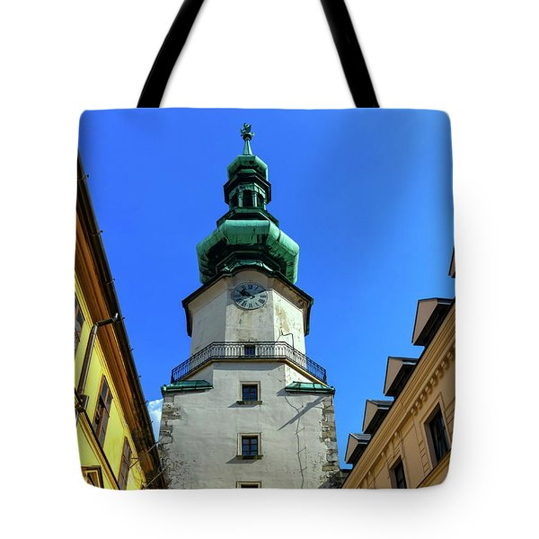 St Michael's Tower In The Old City, Bratislava, Slovakia, Europe Tote Bag by Elenarts - Elena Duvernay photo