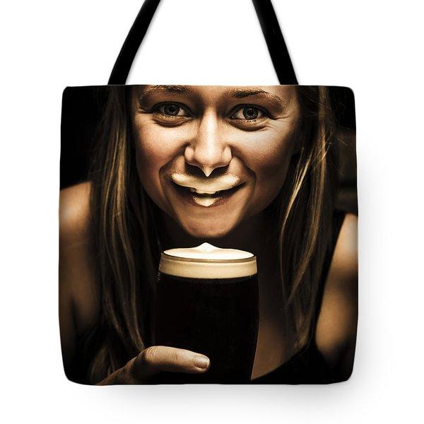 St Patricks Day Woman Imitating An Irish Man Tote Bag