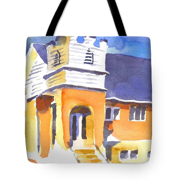 Tote Bag featuring the painting St. Paul Lutheran 3 Impressions by Kip DeVore