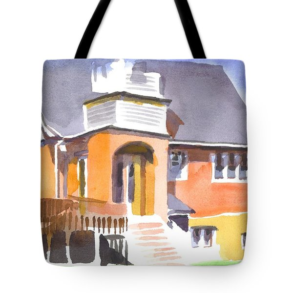 Tote Bag featuring the painting St Paul Lutheran In Watercolor 2 by Kip DeVore
