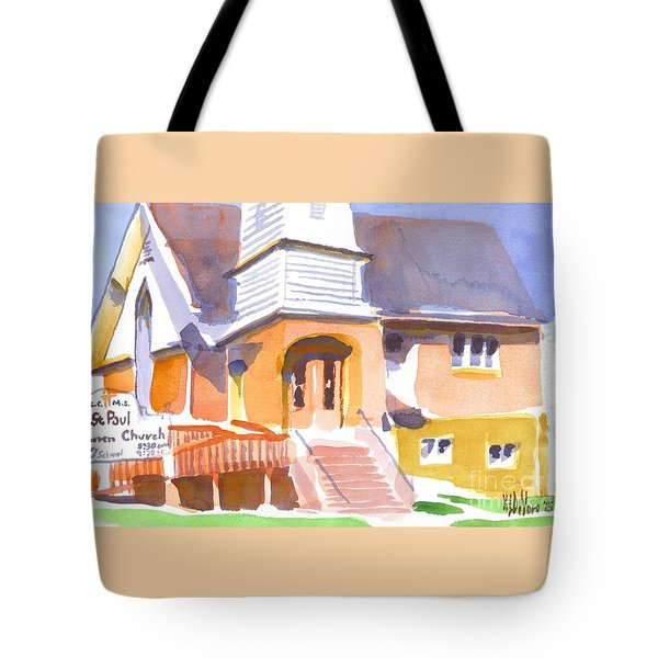 Tote Bag featuring the painting St. Paul Lutheran Ironton Missouri by Kip DeVore
