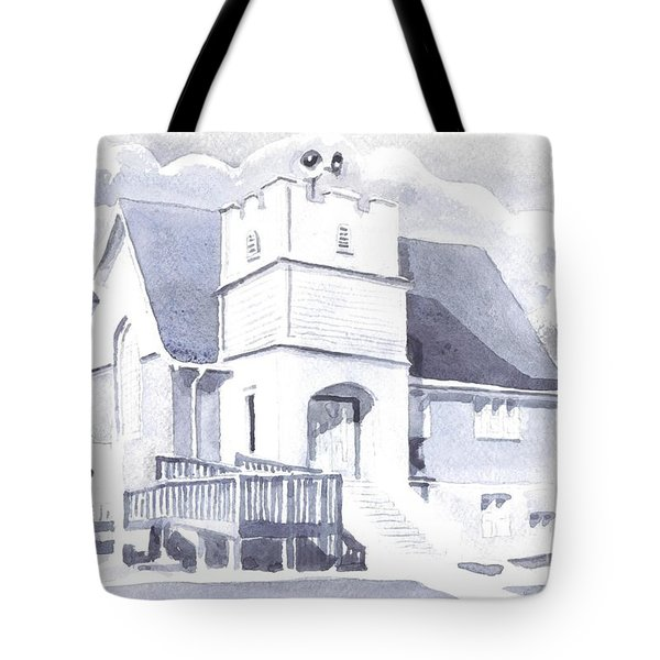 Tote Bag featuring the painting St. Paul Lutheran Church 2 by Kip DeVore