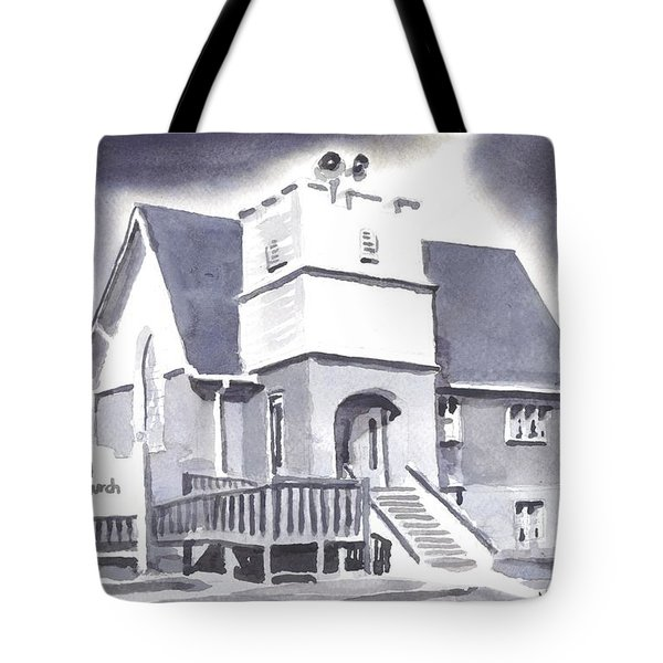 Tote Bag featuring the painting St Paul Lutheran With Ink by Kip DeVore