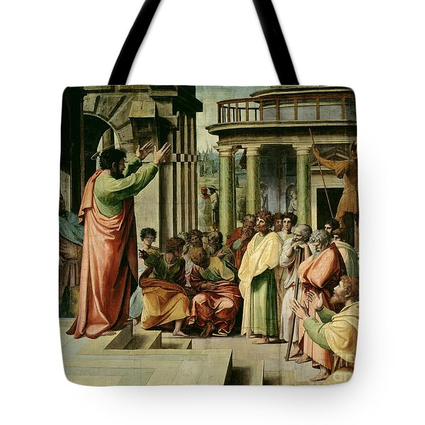 St. Paul Preaching At Athens  Tote Bag by Raphael