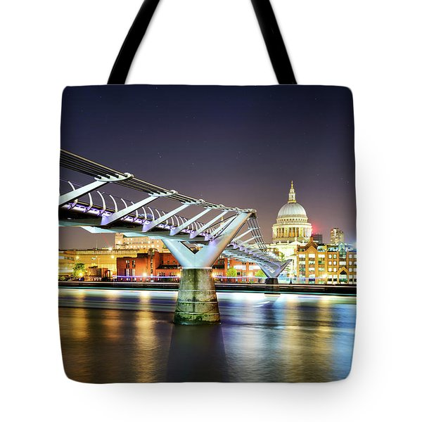 St Paul's Cathedral During Night From The Millennium Bridge Over River Thames, London, United Kingdom. Tote Bag