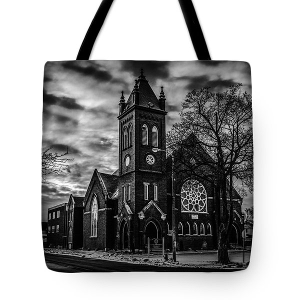 St Pauls United Church Milton  Black And White Tote Bag