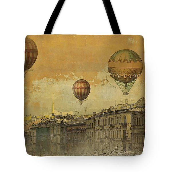 Tote Bag featuring the digital art St Petersburg With Air Baloons by Jeff Burgess