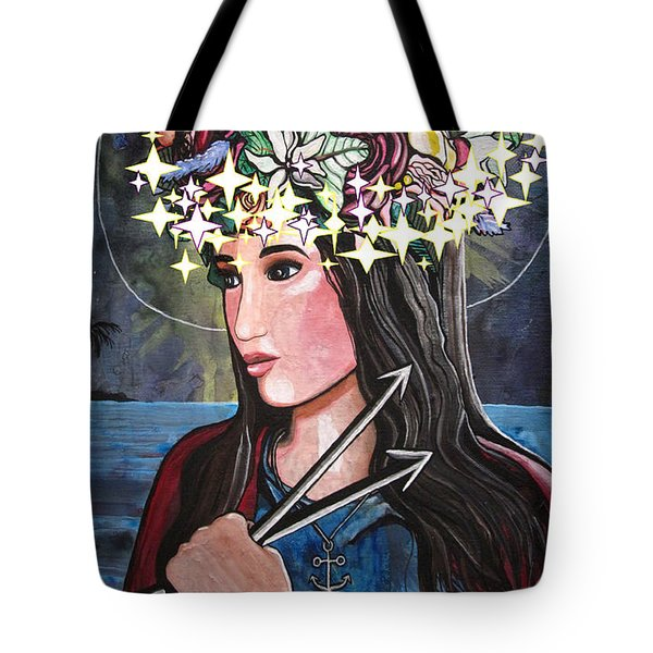 Tote Bag featuring the mixed media St. Philomena by Mary Ellen Frazee