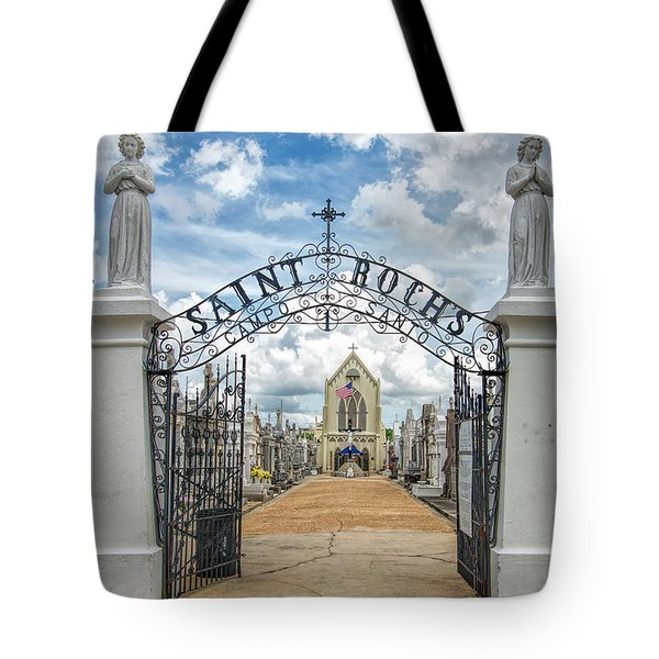 Tote Bag featuring the photograph St. Roch's Cemetery In New Orleans, Louisiana by Bonnie Barry