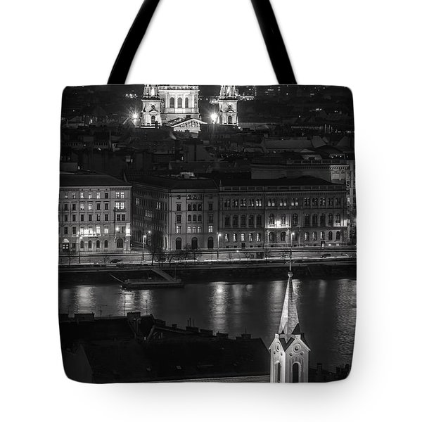 St Stephens Basilica Night Bw Tote Bag