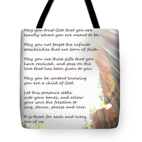St Therese Of Lisieux Prayer And True Light Lower Emerald Pools Zion Tote Bag