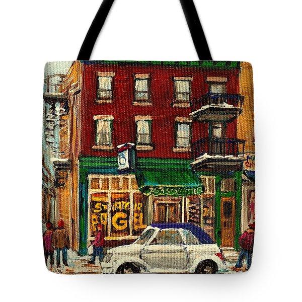 St Viateur Bagel And Mehadrins Deli Tote Bag by Carole Spandau