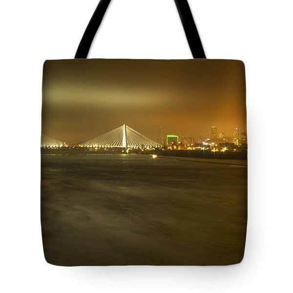 Sta Musial Bridge And St Louis Skyline Tote Bag