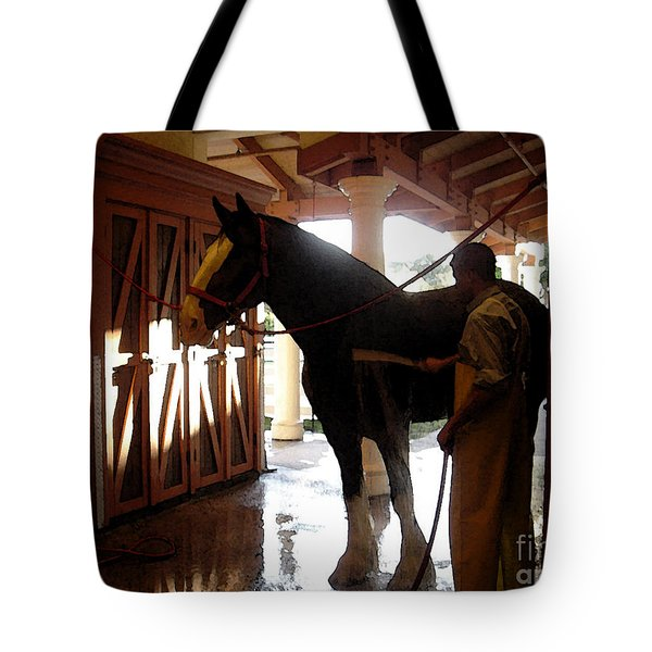 Stable Groom - 1 Tote Bag by Linda Shafer