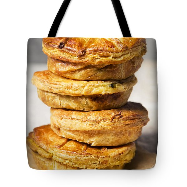 Stack Of Homemade Meat Pies On A Rustic Table Tote Bag