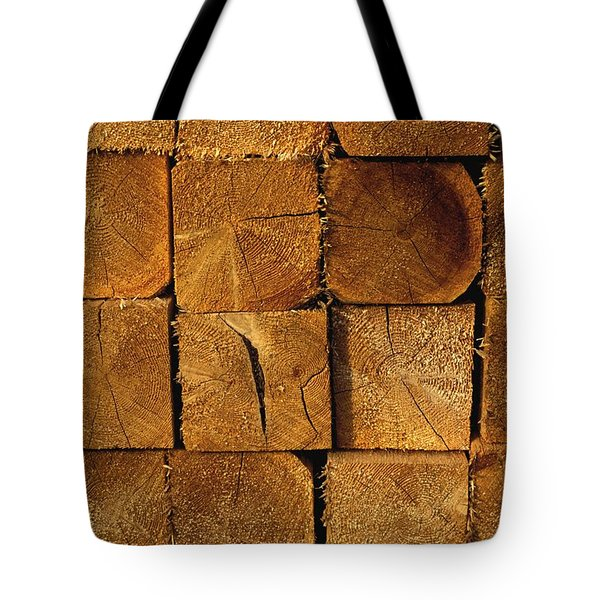 Stack Of Logs Tote Bag by David Chapman