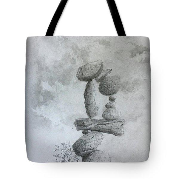 Stacked Rocks Circle Tote Bag