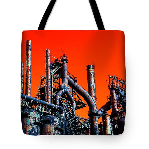 Stacks Of Steel Pop Art In Bethlehem Tote Bag