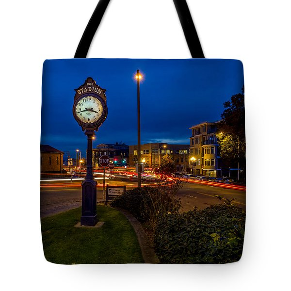 Stadium Clock During The Blue Hour Tote Bag