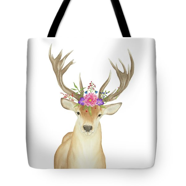Tote Bag featuring the painting Stag Watercolor  by Taylan Apukovska
