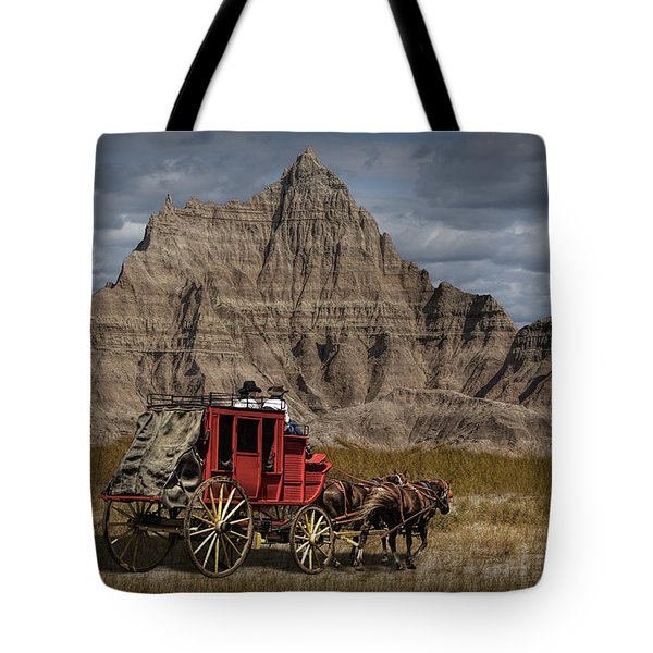 Stage Coach In The Badlands Tote Bag