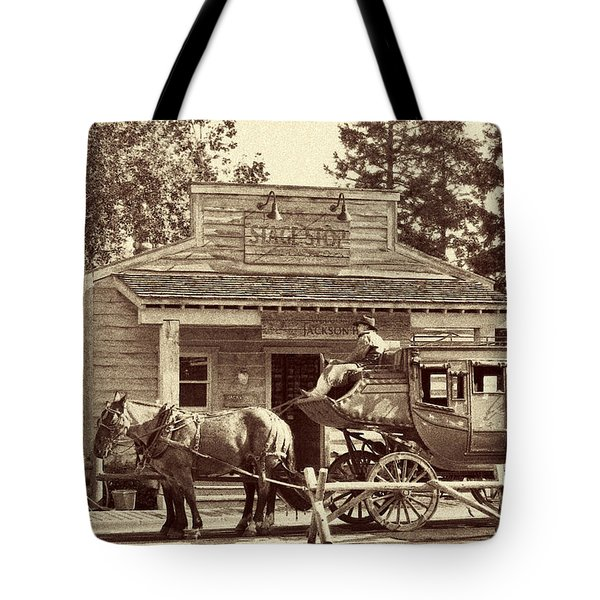 Stage Coach Stop - Jackson Hole Wy Tote Bag by Christine Till
