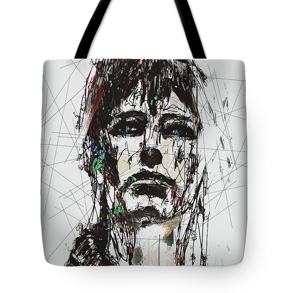 Tote Bag featuring the digital art Staggered Abstract Portrait by Galen Valle