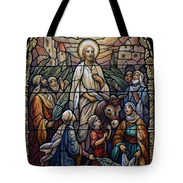 Stained Glass - Palm Sunday Tote Bag by Munir Alawi