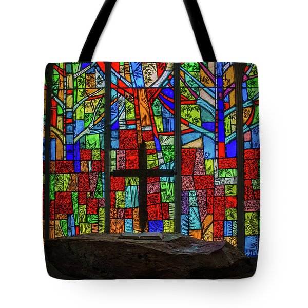Stained Glass And Stone Altar Tote Bag