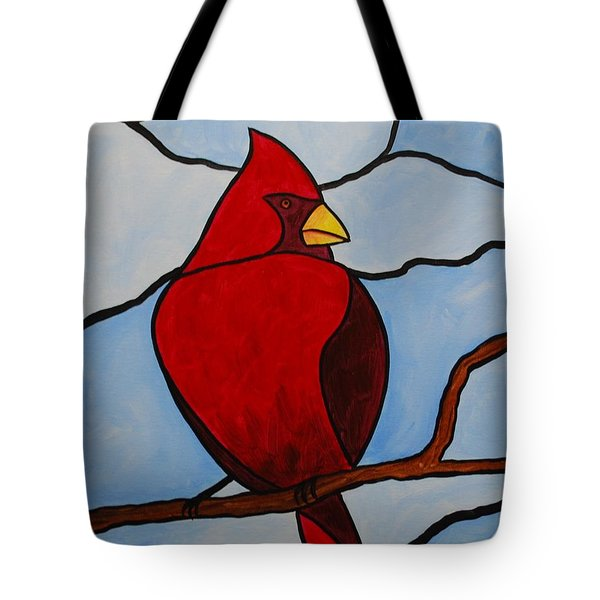 Stained Glass Cardinal Tote Bag
