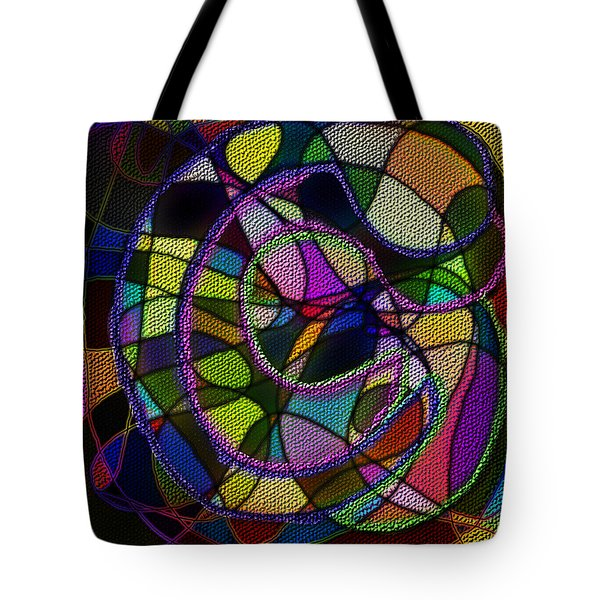 Tote Bag featuring the digital art Stained Glass Father Mother Child by Iowan Stone-Flowers