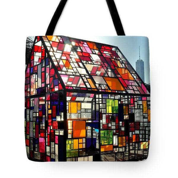 Stained Glass House And Brooklyn Bridge Tote Bag