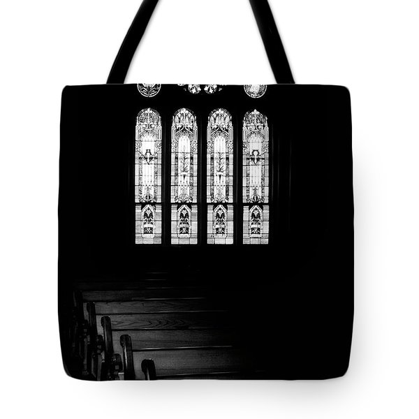 Stained Glass In Black And White Tote Bag by Tom Mc Nemar