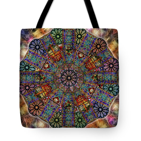 Stained Glass Mandala Tote Bag