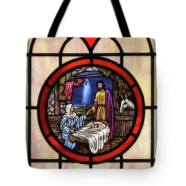 Stained Glass Nativity Window Tote Bag