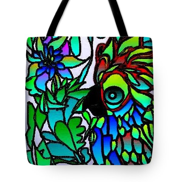 Tote Bag featuring the digital art Stained Glass Parrot by Rae Chichilnitsky