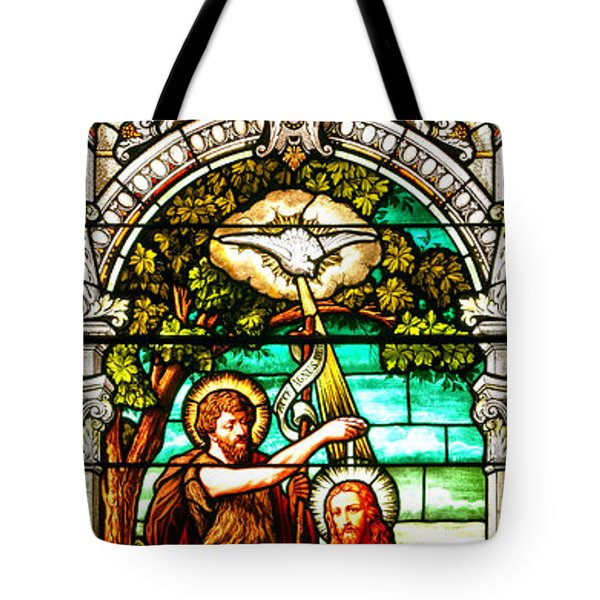Tote Bag featuring the photograph Stained Glass Scene 2 Crop 2 by Adam Jewell